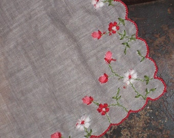 White hankie, pink, red and white flower embroidery