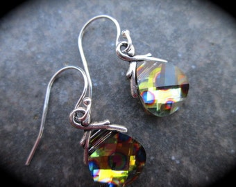 SALE Swarovski Peacock Eye Briolette earrings Sterling Silver Earrings with  Yellow Orange Pink Green and Blue Wedding Jewelry Prom Jewelry