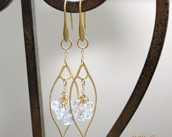 As seen on Pump Rules, Herkimer Diamond Earrings - Gold plated, marquis components, dangle earrings, fashion earrings, The Artisan Group,