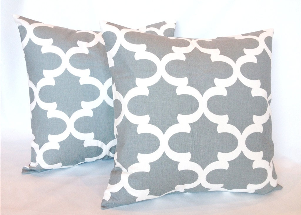 Gray Throw Pillow Covers : Cool Gray Moroccan Throw Pillow Covers. 18 X 18 by thebluebirdshop