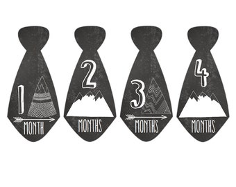 Monthly Baby Stickers Baby Boy Tie Month Stickers Milestone Stickers Monthly Photo Stickers Chalkboard Mountains Arrows (Tribal Ties)