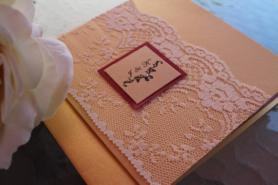 Burgundy And Gold Wedding Invitations: The Vintage Boho Gold Burgundy Lace Wedding Invitation Suite