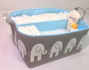 """XLA Diaper Caddy 13""""x11""""x7"""" Fabric Storage Bin, Organizer, Basket, White Elephant on Grey with Light Blue Lining"""