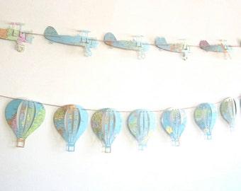 Hot Air Balloon, Garland, Vintage Balloons, Map Nursery, Garland, Balloon Theme, Hot Air Balloon Nursery, Travel Theme