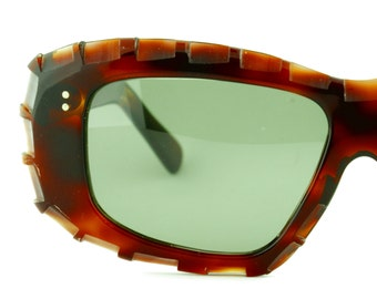 Vintage Womens Amber Tortoise Shell Sunglasses Green Lenses Eyewear - ST022