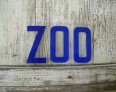 Vintage Sign Letters ZOO Blue Acrylic Plastic Letters