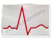 Heartbeat Line Machine Embroidery Design - 4 Sizes