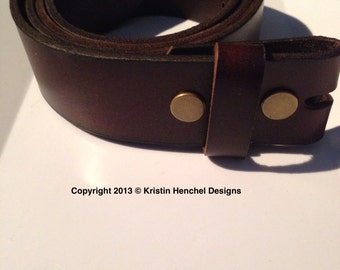Brown full grain leather strap/snap belt sizes S-L