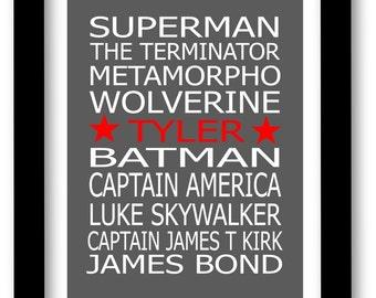 Superhero Print, Personalized Famous Comic characters, Superman, Batman, Boys room print
