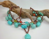 Turquoise Necklace, Multi Stone, Boho, Four Strands, Red Coral, Olive Jade, Copper Chain,