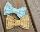 Mustard Yellow bow tie, clip-on bow tie, vintage wedding bowtie, men's bow tie, mint green bow tie, mustard yellow bow tie, teal bow tie