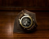 Steampunk Brass and Leather Wristwatch