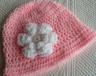 Crochet Hat with Flower, Pink, Pink and White Cloche, Easter Hat, Newborn, Little Girl, Child Hat, Spring Hat