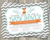 large chevron fox baby shower invitation, orange and turquoise, digital, printable file