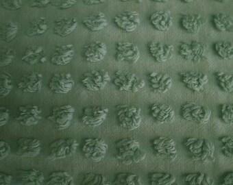 "Morgan Jones KELLY GREEN POPS Vintage Chenille Bedspread Fabric - 24"" X 24"""