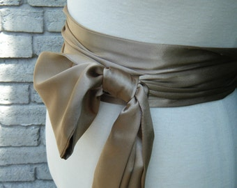 Super Sale, Sample 118 inch Caramel Tone Sash in satin charmeuse various way to tie