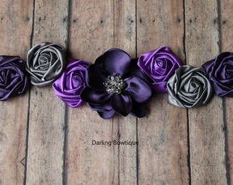 Purple and Gray Sash Maternity Sash Bridal Sash Flower Girl Sash