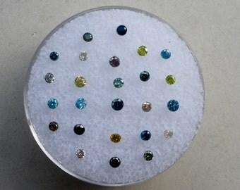 Multicolor diamond lot 25 total diamonds