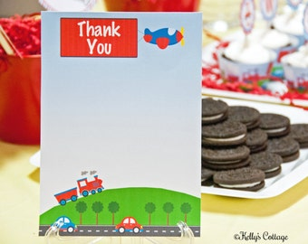 Planes, Trains, and Automobiles Birthday Party Thank You Notes (5 x 7), Instant Download, Printable, Digital