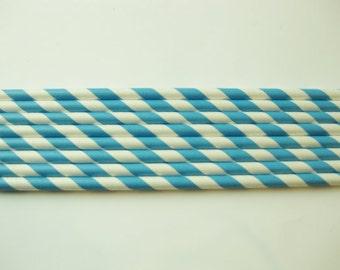 25 Paper European Blue & White Striped Straws - Free Printable Straw Flags