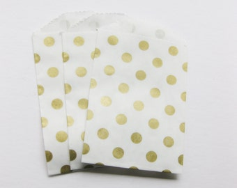 "Set of 20 METALLIC GOLD and White Polka Dot Bitty Bags (2.75"" x 4"")"