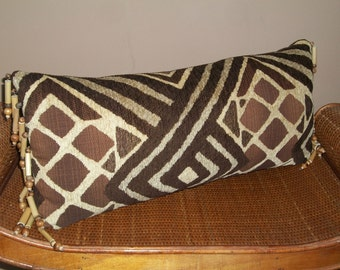 Tribal Style Lumbar Pillow with Wood and Bamboo Bead Fringe