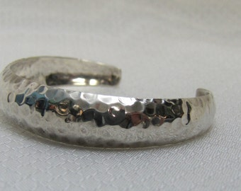 Hand Hammered Sterling Bangle Bracelet