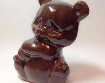 Vintage bear, folk art, heavy ceramic bear figurine.