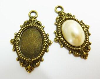 2 cabochon settings, 18x13mm, ornament, bronze