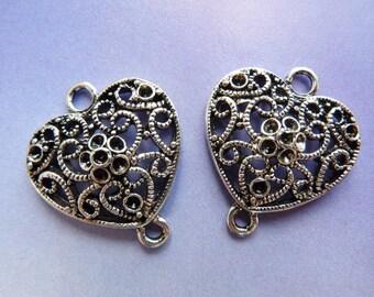 4 connectors, heart, 25x21mm, bronze