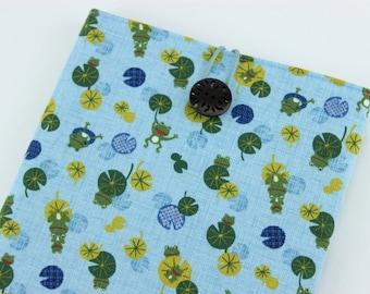 SALE Gift Shop Mofleema, Padded Tablet Sleeve, Handmade iPad Cover, Frogs Light Blue