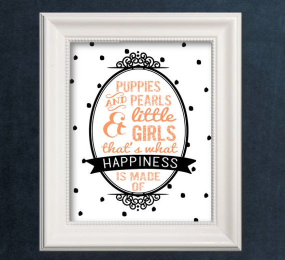 Puppies and pearls and little girls print wall decor - Wall decoration with pearls ...