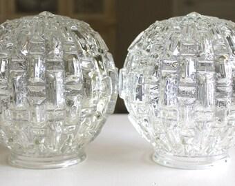 Pair of Art Deco cut glass Globe Shades  c. 1940's