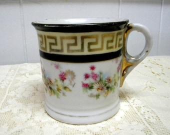 China shaving mug greek key and floral design early 1900's vintage German porcelain