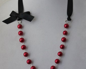 Red Pearl and Black Ribbon Bow Necklace