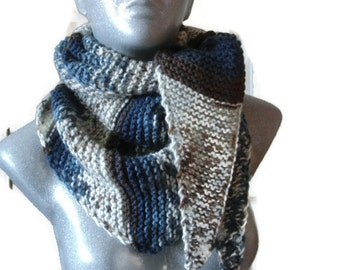 Knitted Scarf Bactus Triangle Shaped Tassels Brown Blue White Soft Wool Acrylic