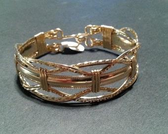 Gold Bracelet wire wrapped wire jewelry