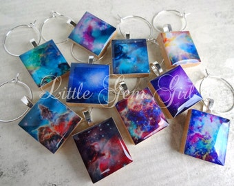 Space Galaxy Wine Charms - YOU PICK 10 Designs - Super Nova Space Wine Charms - Orion Nebula Charms - Sci Fi Geekery Milky Way Outer Space