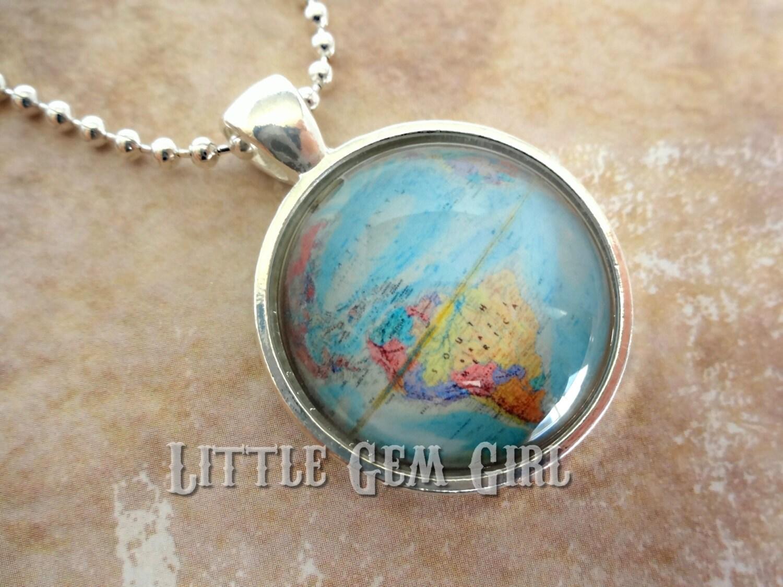 Vintage Globe Necklace Antique World Map Necklace Pendant