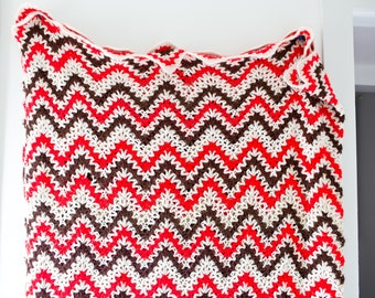 Vintage Afghan Blanket - Chevron Pattern Knitted Blanket Beige Red and Brown Chevron Triangle Geometric