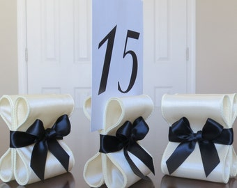 Table Number Holders - Wedding Decor - Ten (10) with Ivory and Black Satin Ribbon - Customize Your Colors