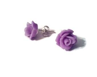 Purple Rose Stud earrings stainless steel resin 10mm