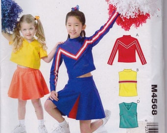 Stitch n Save M4568 Girls' Cheerleader Costumes Pattern, UNCUT, Size 7-8-10-12-14, Halloween, Fun,
