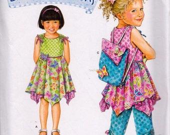 Simplicity 2716 Child's Dress, Top, Capri, Pants and Backpack Pattern, UNCUT, Size 3-4-5-6-7-8, Daisy Kingdom,
