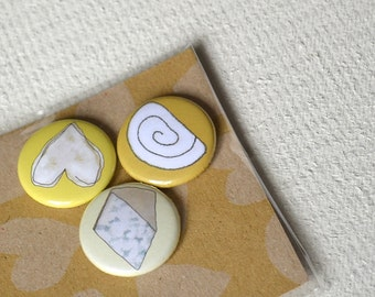 Cheese Badges or Magnets - gift for cheese lover - gift for foodie - cheese fridge magnets - food art - kitchen art - cheese pins