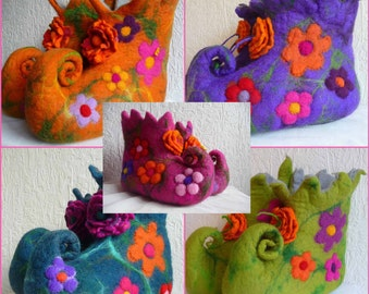 Made to order - Handmade felted wool slippers pixie fairy boots size, eco friendly, handcrafted