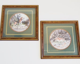 Vintage Pair of Framed & Matted Beagle Hound Dog Red Fox Prints by Don Easterwood