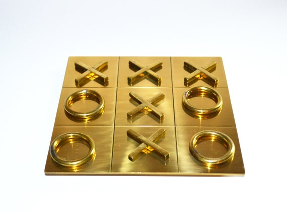 Vintage Brass Tic Tac Toe Game Vintage Board Game Brass Coffee