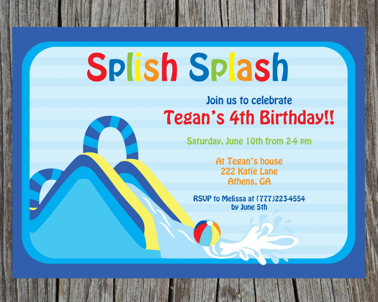Splish Splash Party Bash Birthday Invitation Water slide – Water Slide Party Invitations