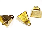Gold Cow Bells, Shiny Metal Craft Supply Small Ringing Bells, set of 3, one+ inch tall  itsyourcountry